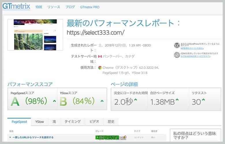 Wordpressページスピードで100点近くまでスピードアップ!Luxeritasカスタマイズ成果